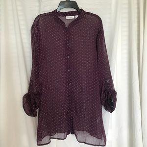 Susan Graver Polka Dot Printed Shirt